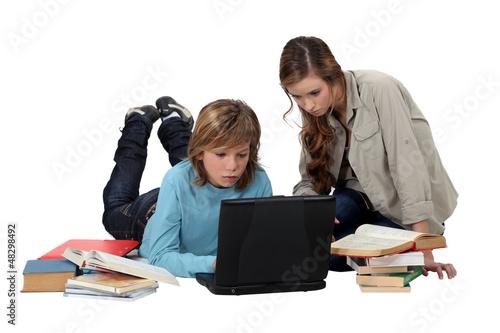 kid doing his homework
