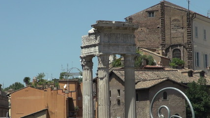 Capital of columns and partial facade at the Roman Forum in Rome