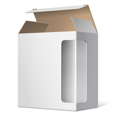 Realistic Open Package Cardboard Box with a transparent window.