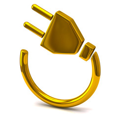 Gold electric plug icon