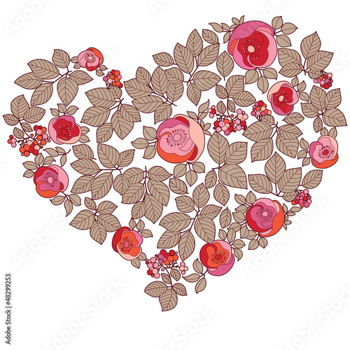 Red valentine heart in floral style isolated on background