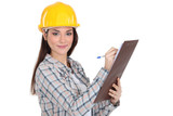 Female construction worker with a clipboard
