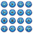 Set of blue player buttons