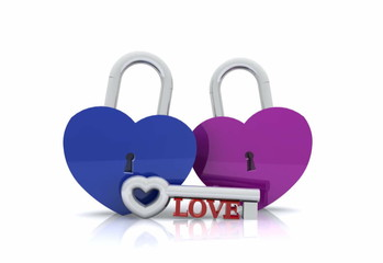 Pair of heart-shaped padlock with key - 3D