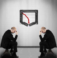 Bad business figures - business crises concept