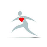 Vector logo heart and sport