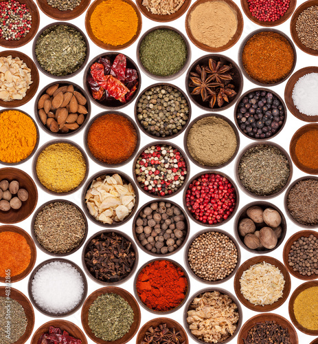 Various kinds of spices on white background - 48302865