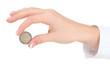 Woman hand with euro coin, isolated on white