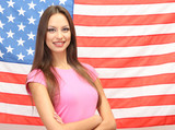 Fototapety Young woman with American flag