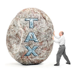 Businessman holding giant boulder - symbol of high taxes.
