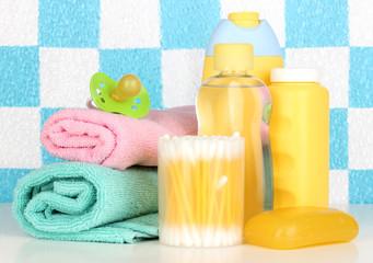 Baby cosmetics in bathroom