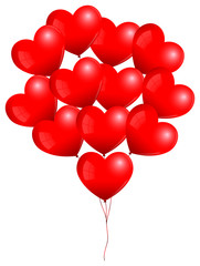 Red Heart Balloons Bunch