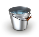 Metal bucket full of water. Isolated on white