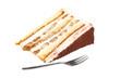 Liegende Tiramisu Torte mit Gabel davor