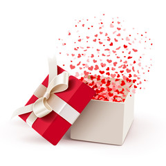 Open gift with flying hearts