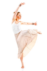 pretty woman modern style dancer jumping and dancing