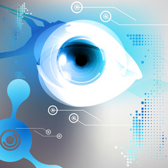 Eye, robot vision with colorful iris, digital technology