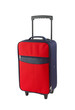 Red and blue luggage with two wheels
