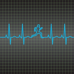 EKG heart beat running man