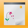Hand drawn flower and sun in summer,vector