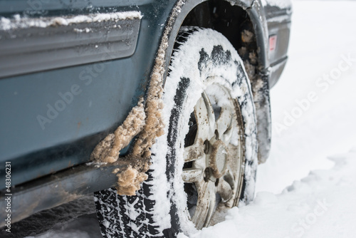 wheel in the snow