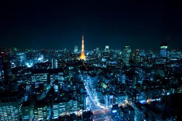 東京の夜景と東京タワー