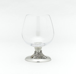 Whisky or brandy glass decorated by pewter in shape of grape