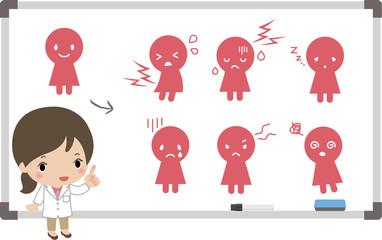 生理前後の症状を解説する女医