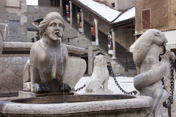 ancient fountain in old town, Bergamo, Italy