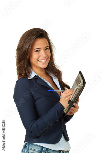 young woman, on white background with agenda