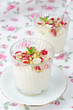 semolina dessert with pomegranate seeds and pistachios