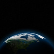 Planet earth with sun rising over North of America (Elements of