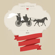 Vintage wedding invitation with retro carriage