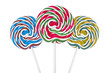 Three colorful spiral lollipops