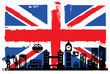 UK flag and silhouettes
