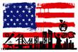 USA flag and silhouettes