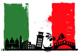 Italy flag and silhouettes