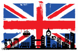 Fototapety UK flag and silhouettes