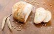 Loaf of bread, partly sliced