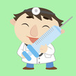 cartoon doctor with a syringe