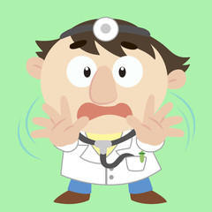 cartoon doctor with a denial of action