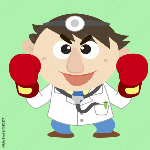 doctor raise his boxing gloves