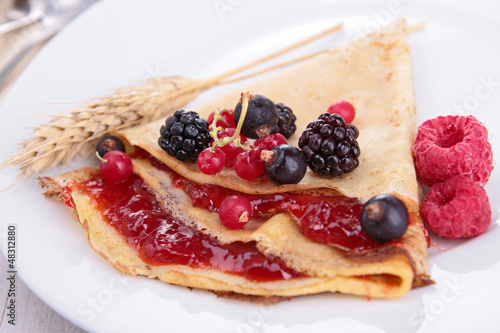 crepe with fruit and jam