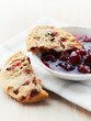 Cranberry cookie with sour cherry marmalade