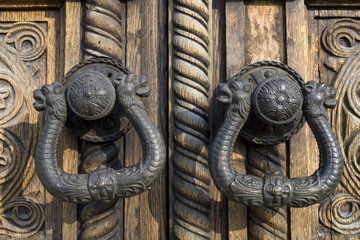 Wooden ornated door and hardware