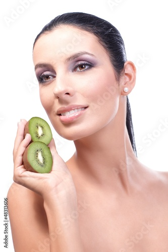Portrait of healthy fresh woman with kiwifruit