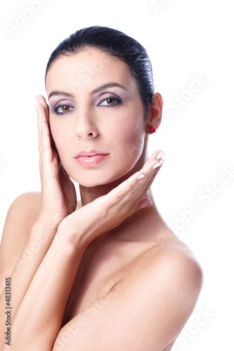 Portrait of attractive woman with bare shoulders