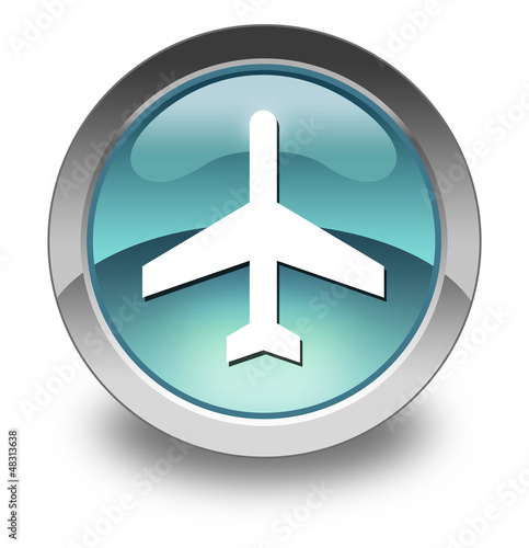 "Light Blue Glossy Pictogram ""Airport / Airplane"""