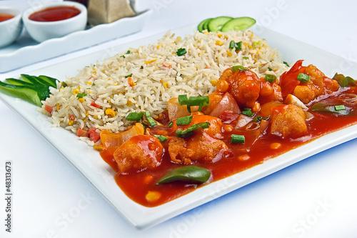 Chicken manchurian with rice