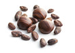 chocolate pralines and cocoa beans